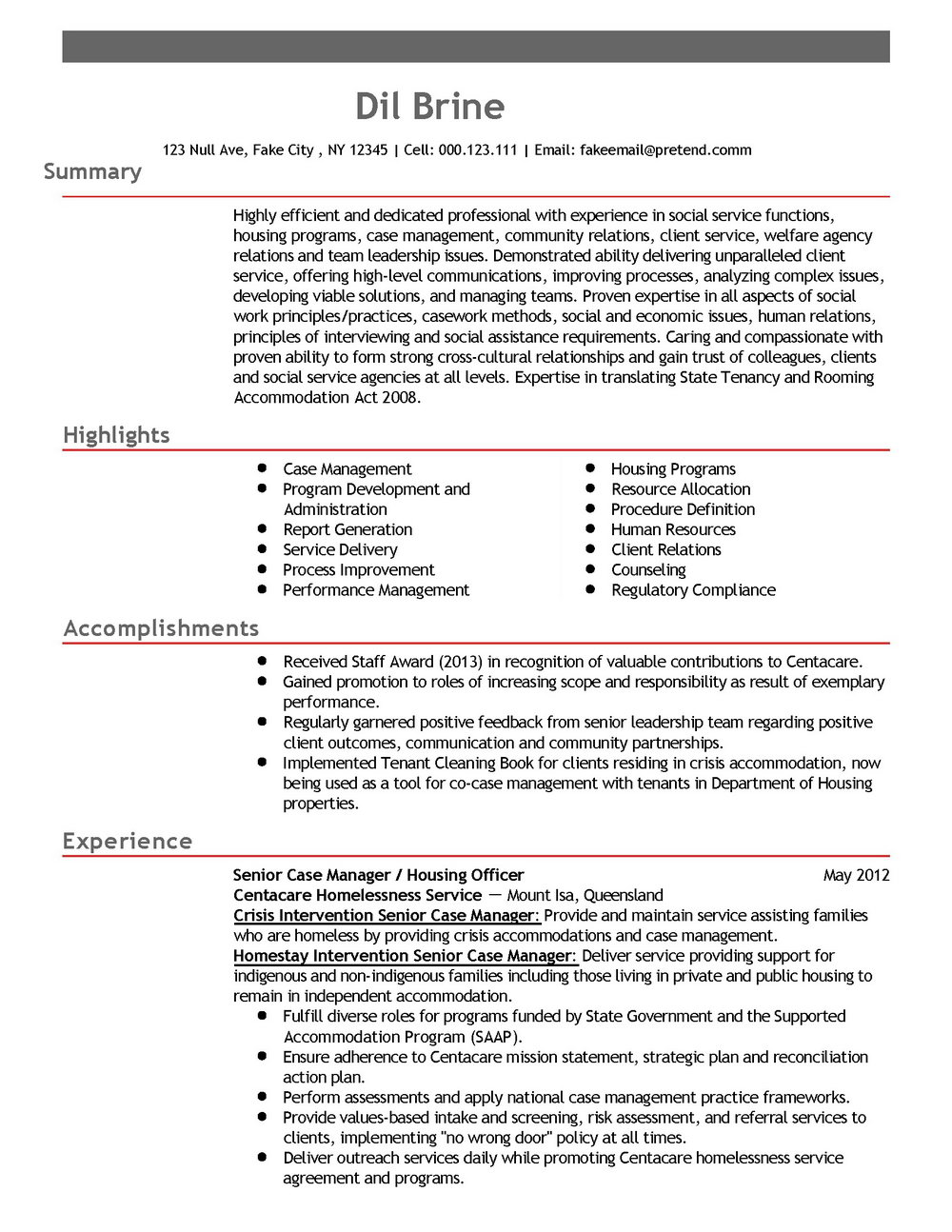 Resume Samples For Development Professionals