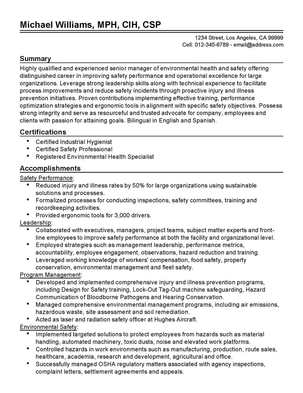 Resume Samples For Environmental Professionals