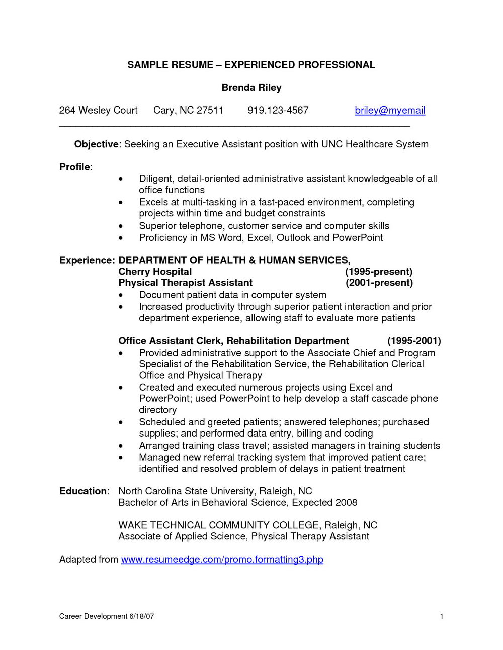 Resume Samples For Experienced Banking Professionals