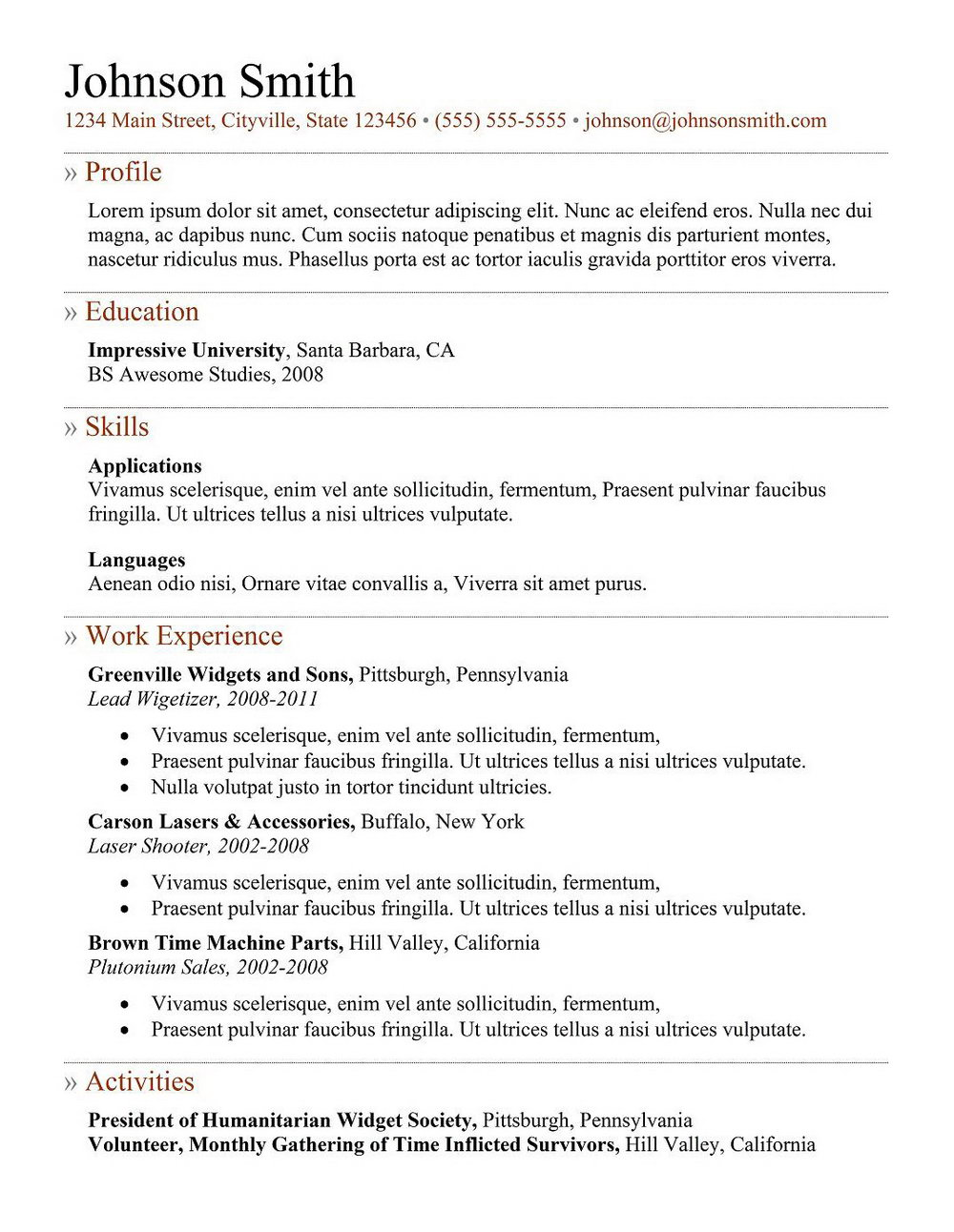 Resume Samples For It Professionals Freshers