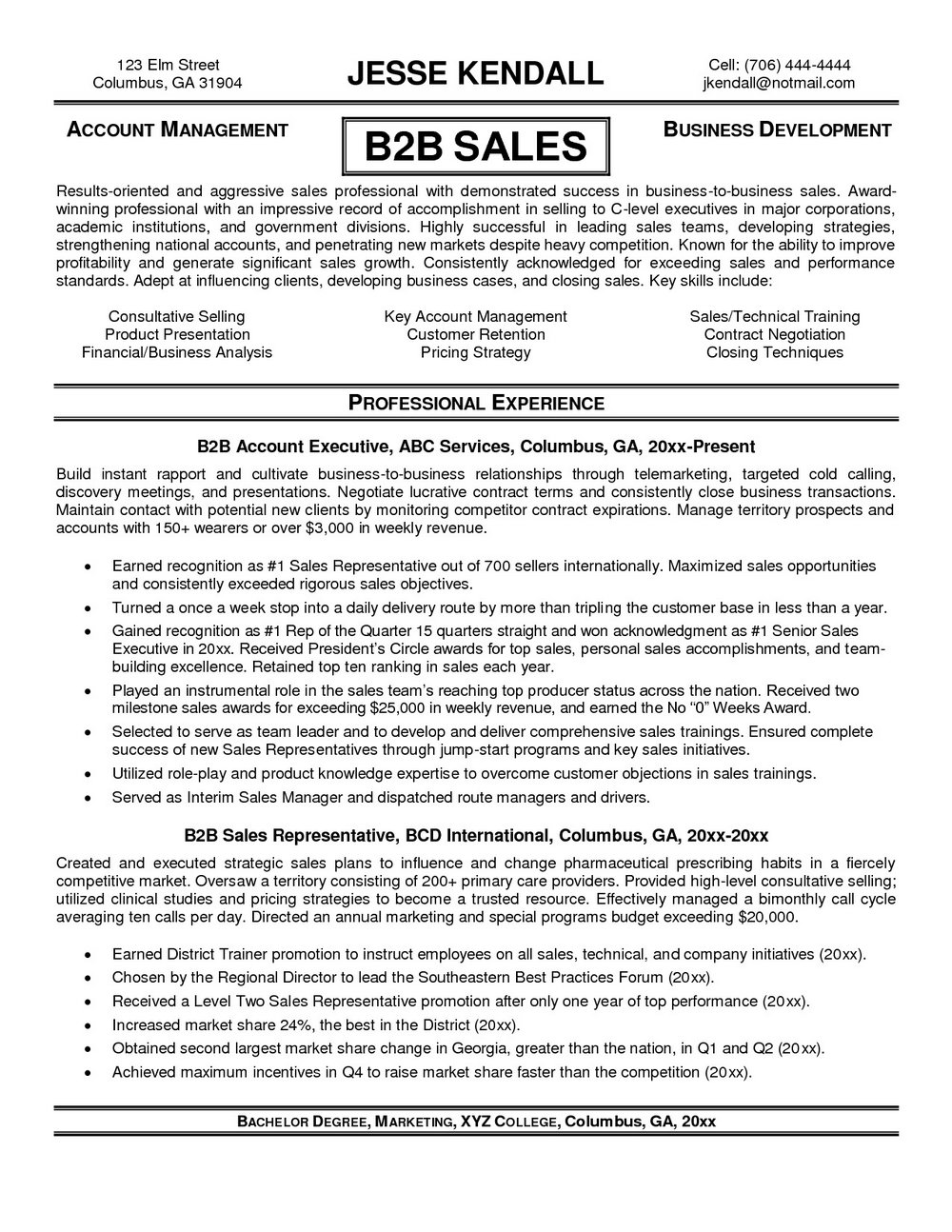 Resume Samples For Sales Professionals