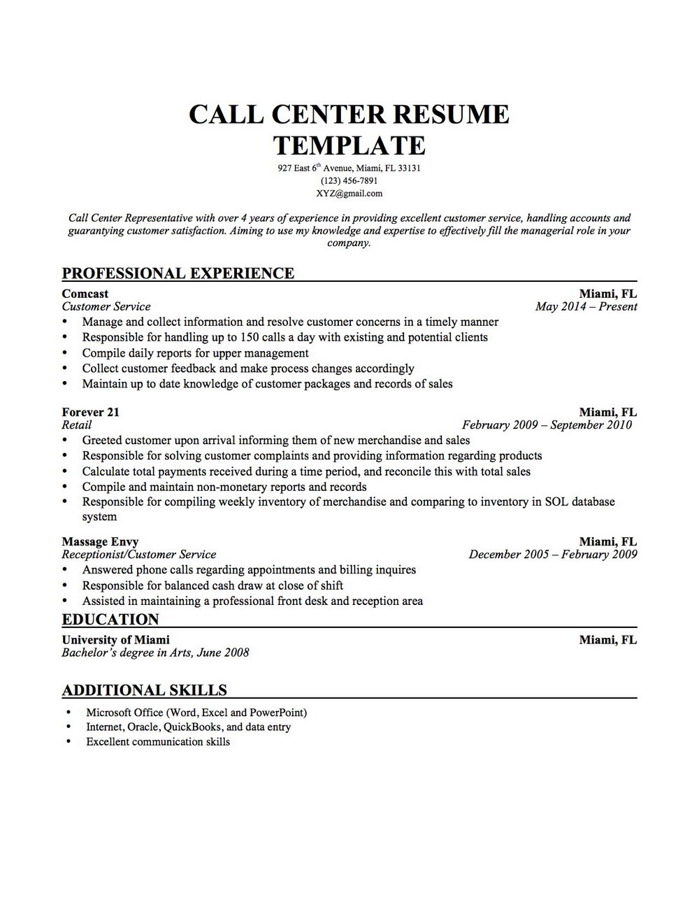 Sample Of Resume For Bpo Jobs