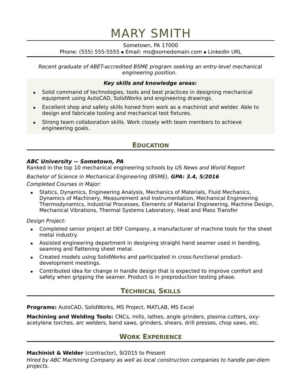 Sample Of Resume For Engineering Jobs