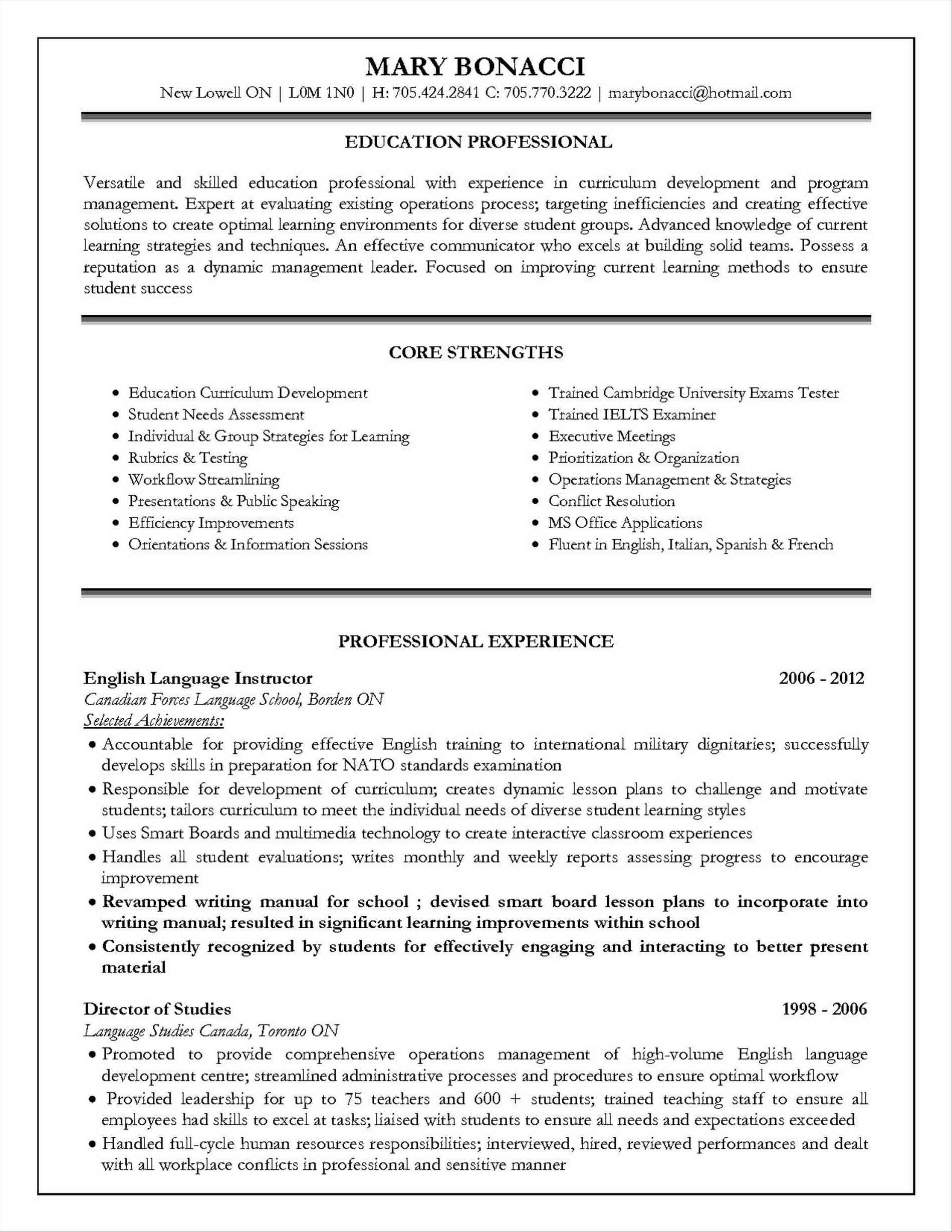 Sample Resume For Jobs In Usa