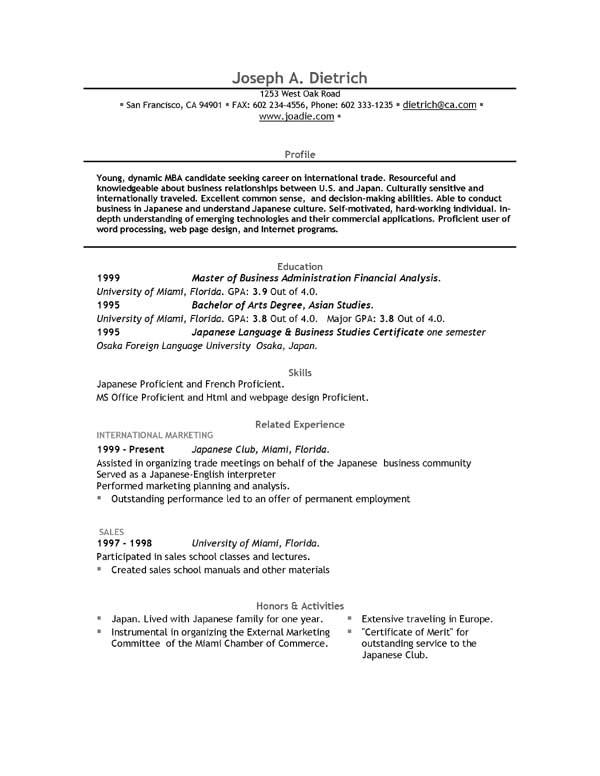 Sample Resume In Ms Word Format Free Download