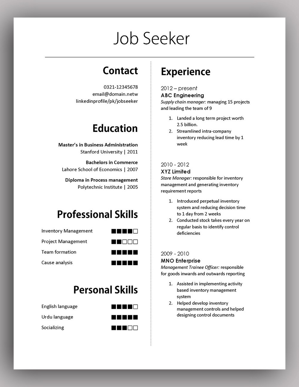 Simple Resume Format Doc Free Download