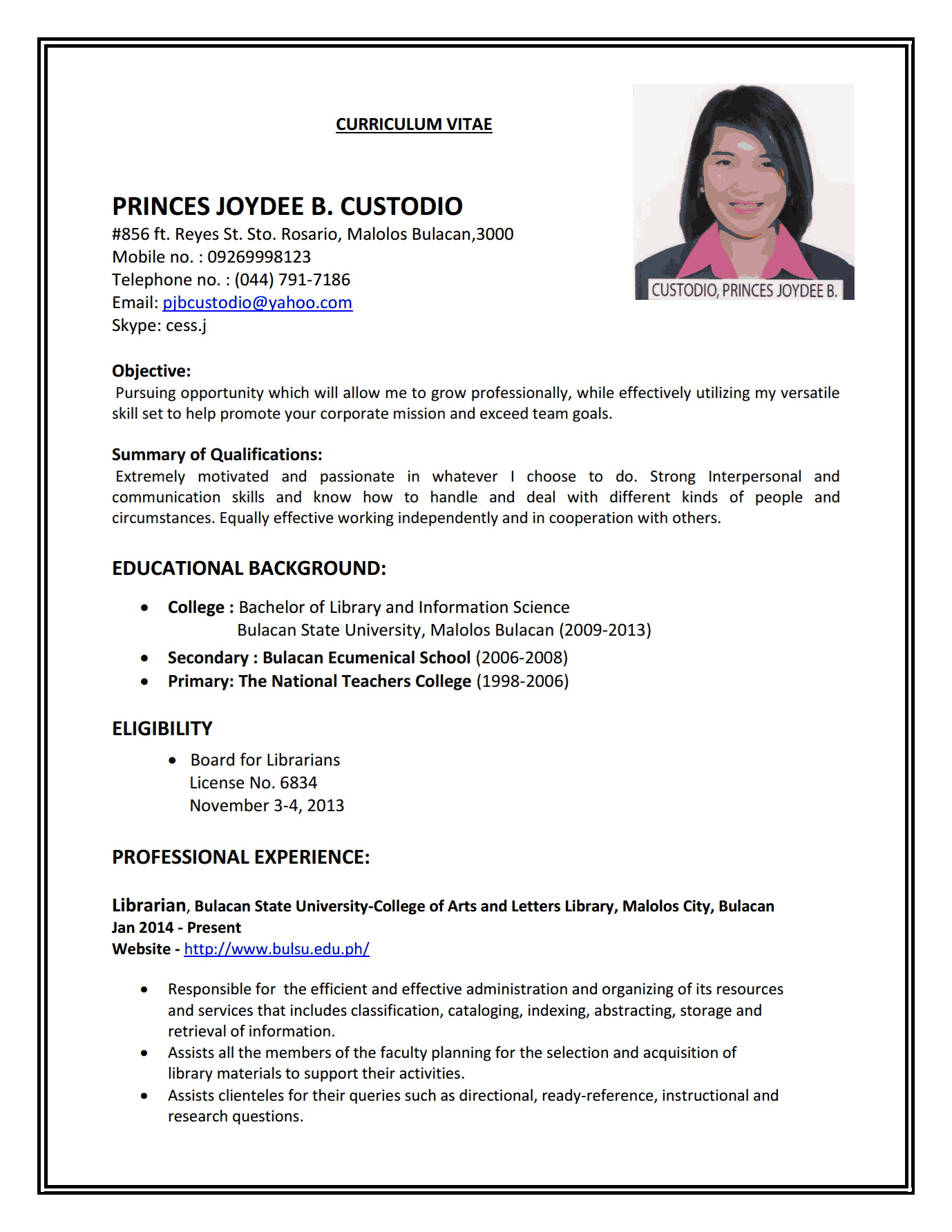 Simple Resume Format For Teaching Job