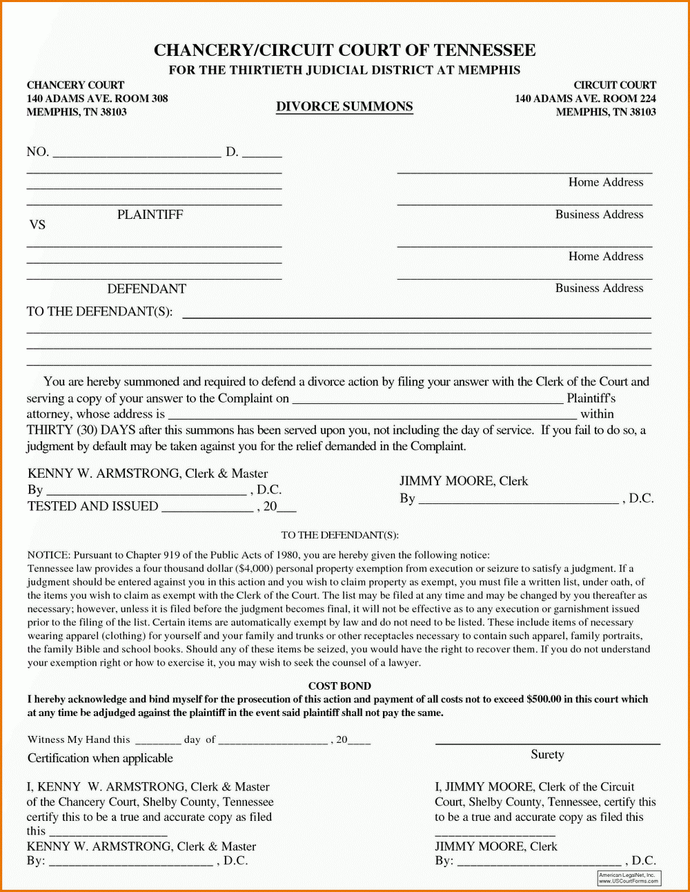 Tn Divorce Filing Fee