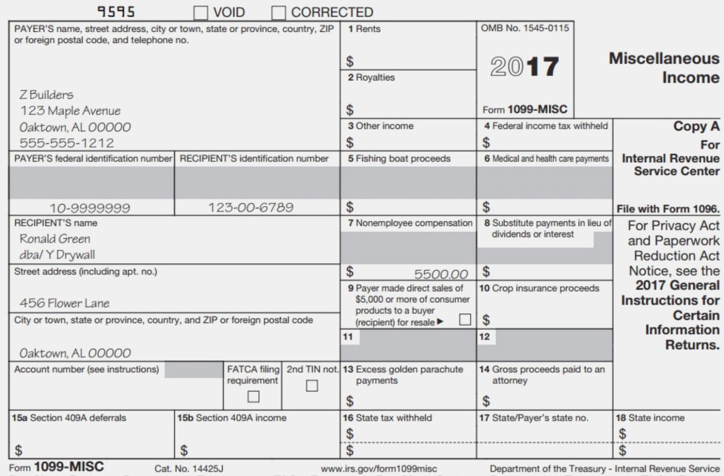1099 Fillable Form 2017