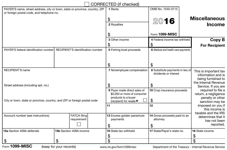 1099 Tax Form Printable 2016