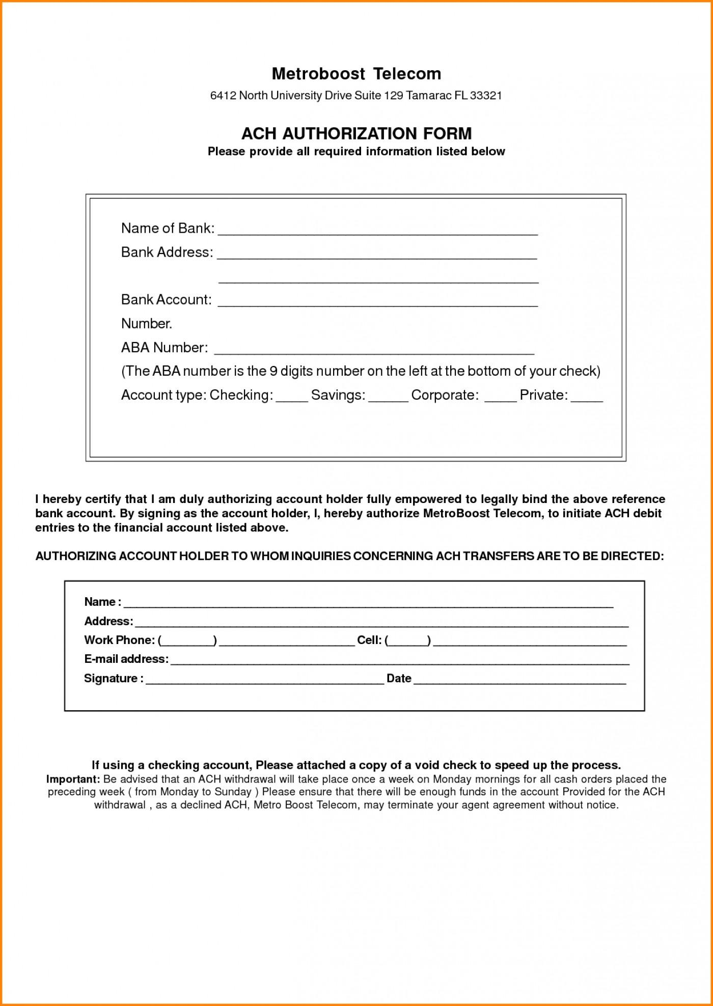 Ach Authorization Form For Direct Deposit