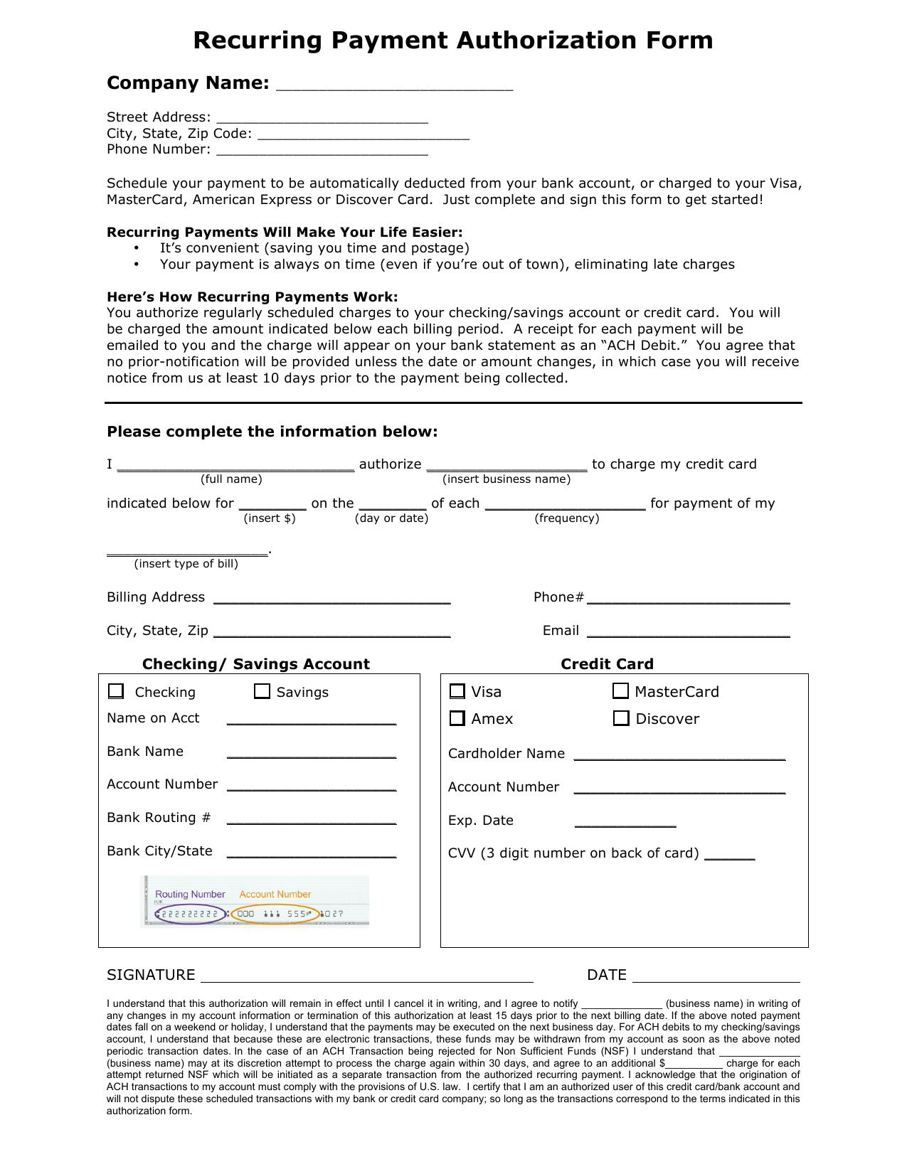 Ach Authorization Form Template Word