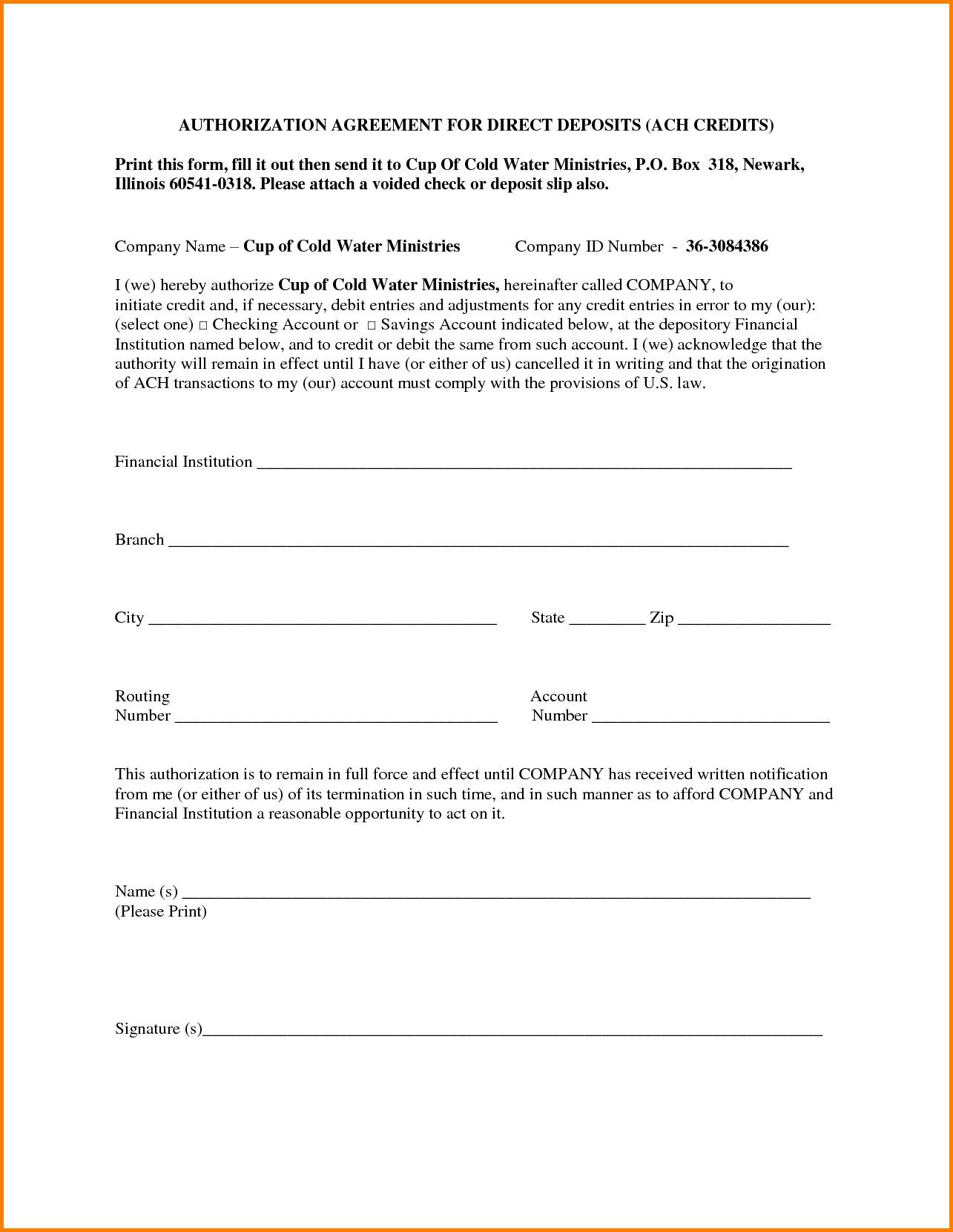 Ach Authorization Form Wells Fargo