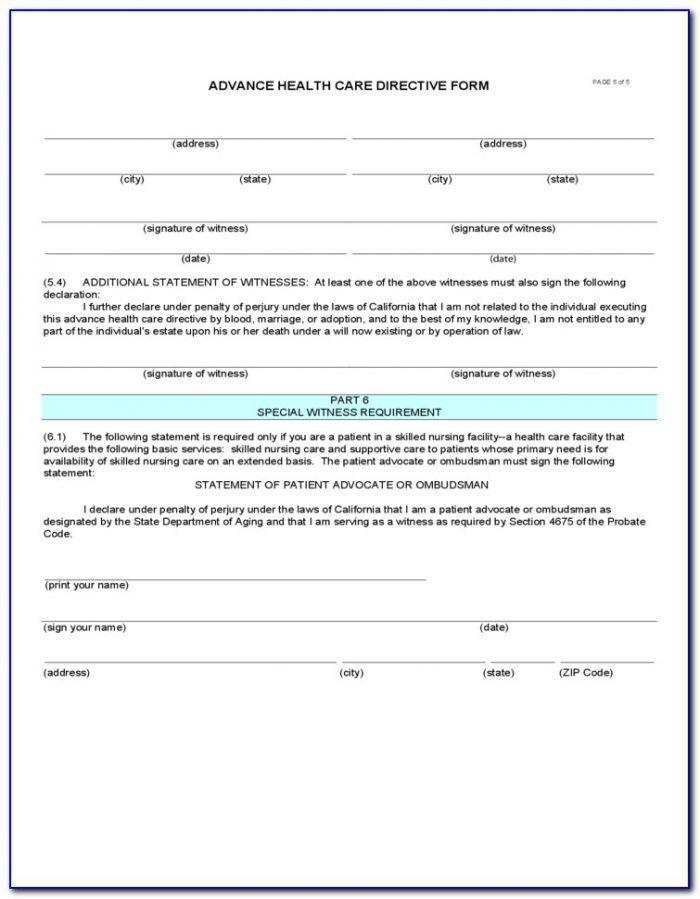 Advance Healthcare Directive Form California Spanish
