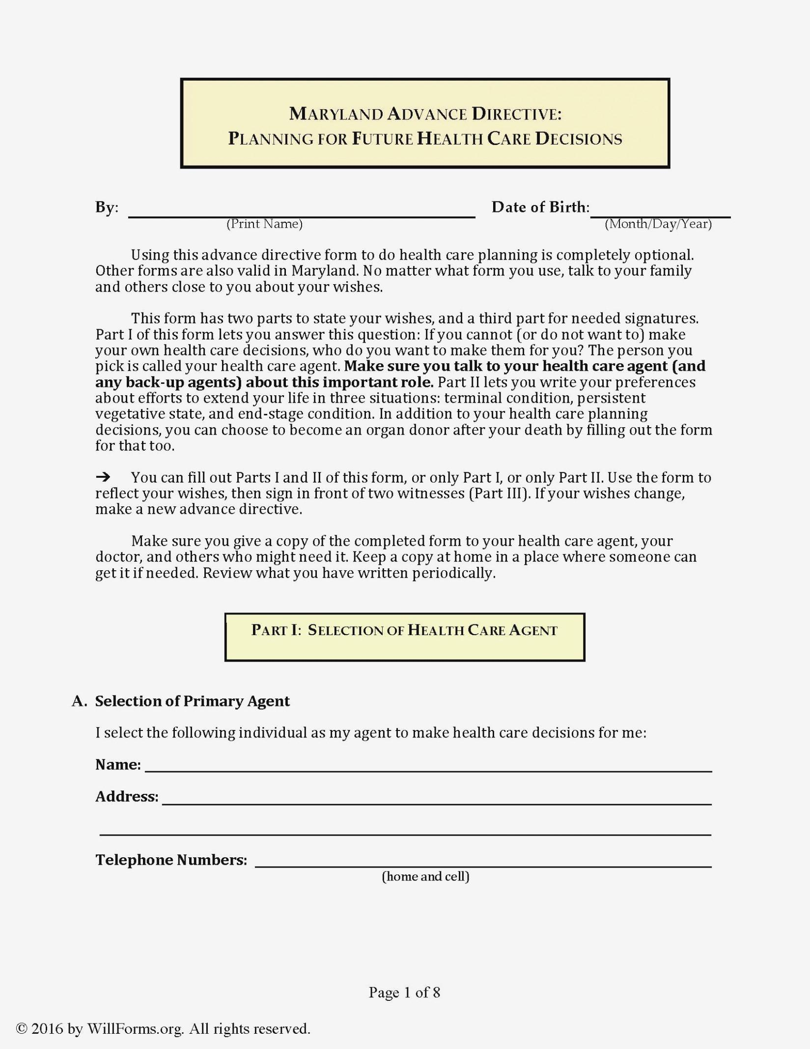 advance healthcare directive form nl