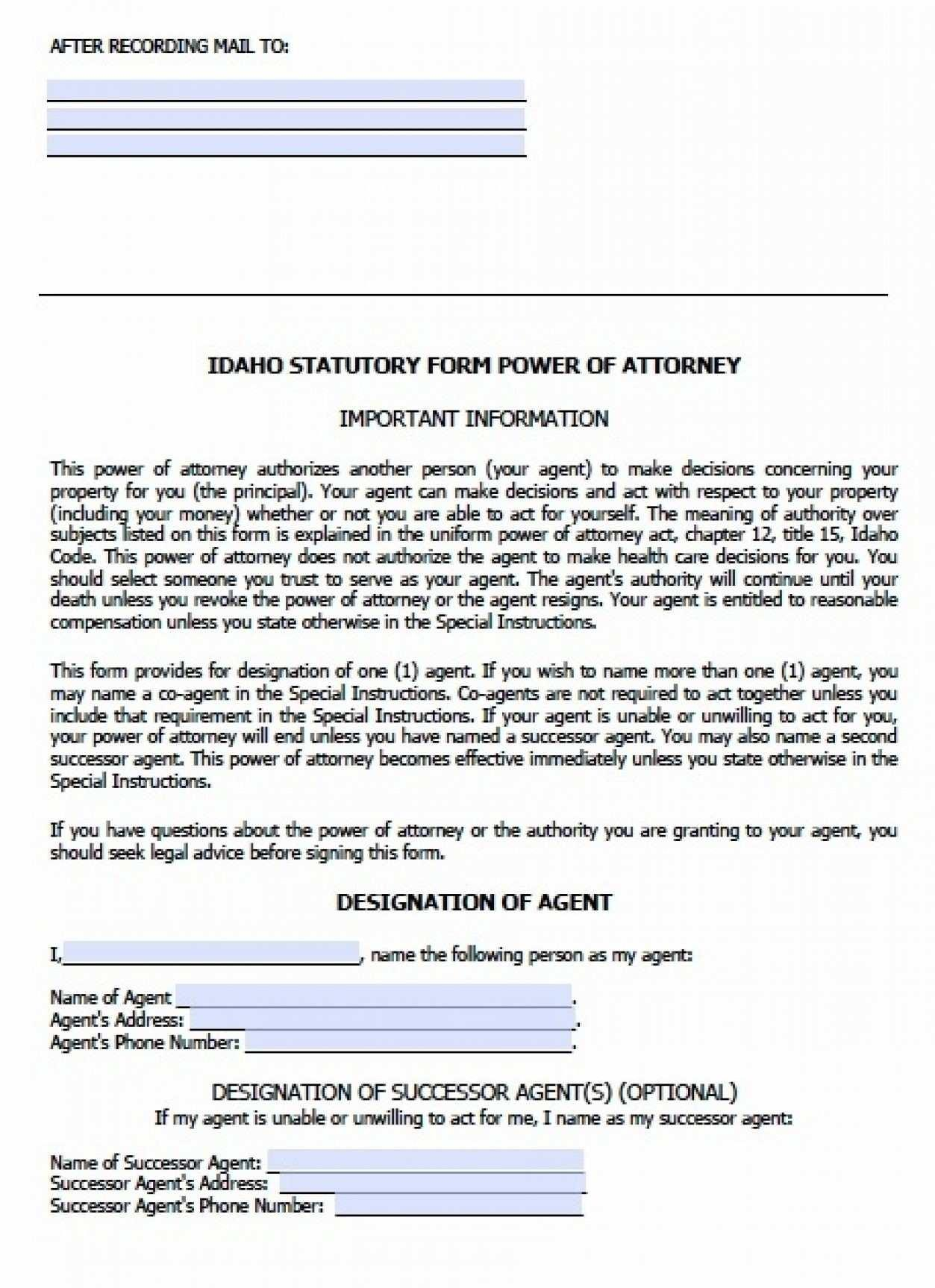 Durable Financial Power Of Attorney Form Idaho