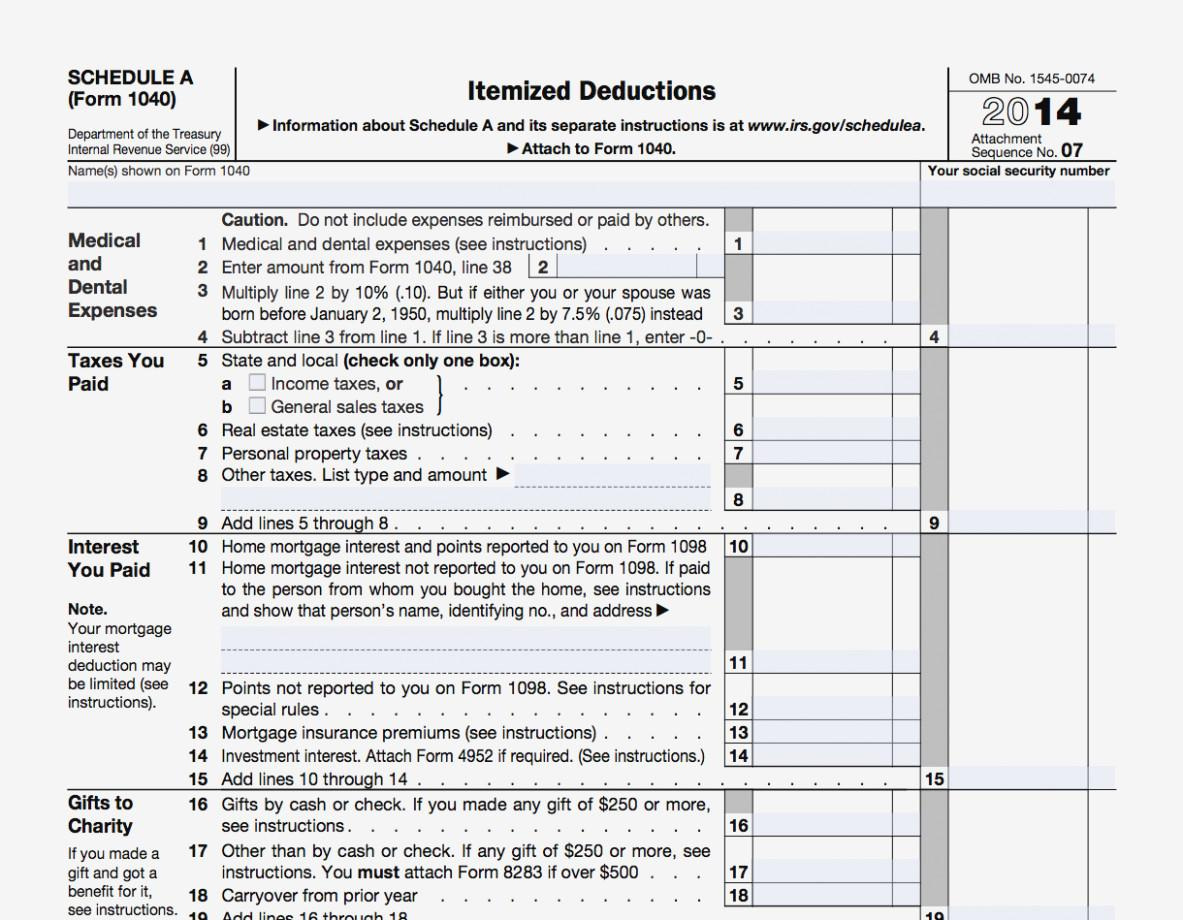 Federal Tax Form 1040 Itemized Deductions