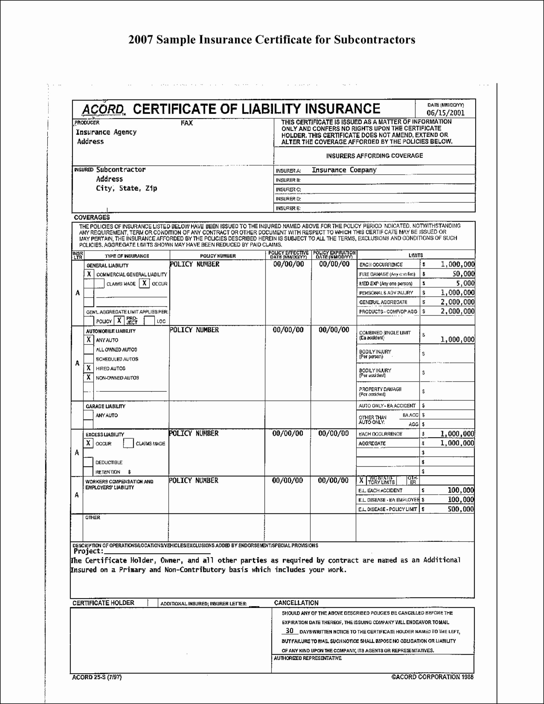 Fillable Acord Form 23