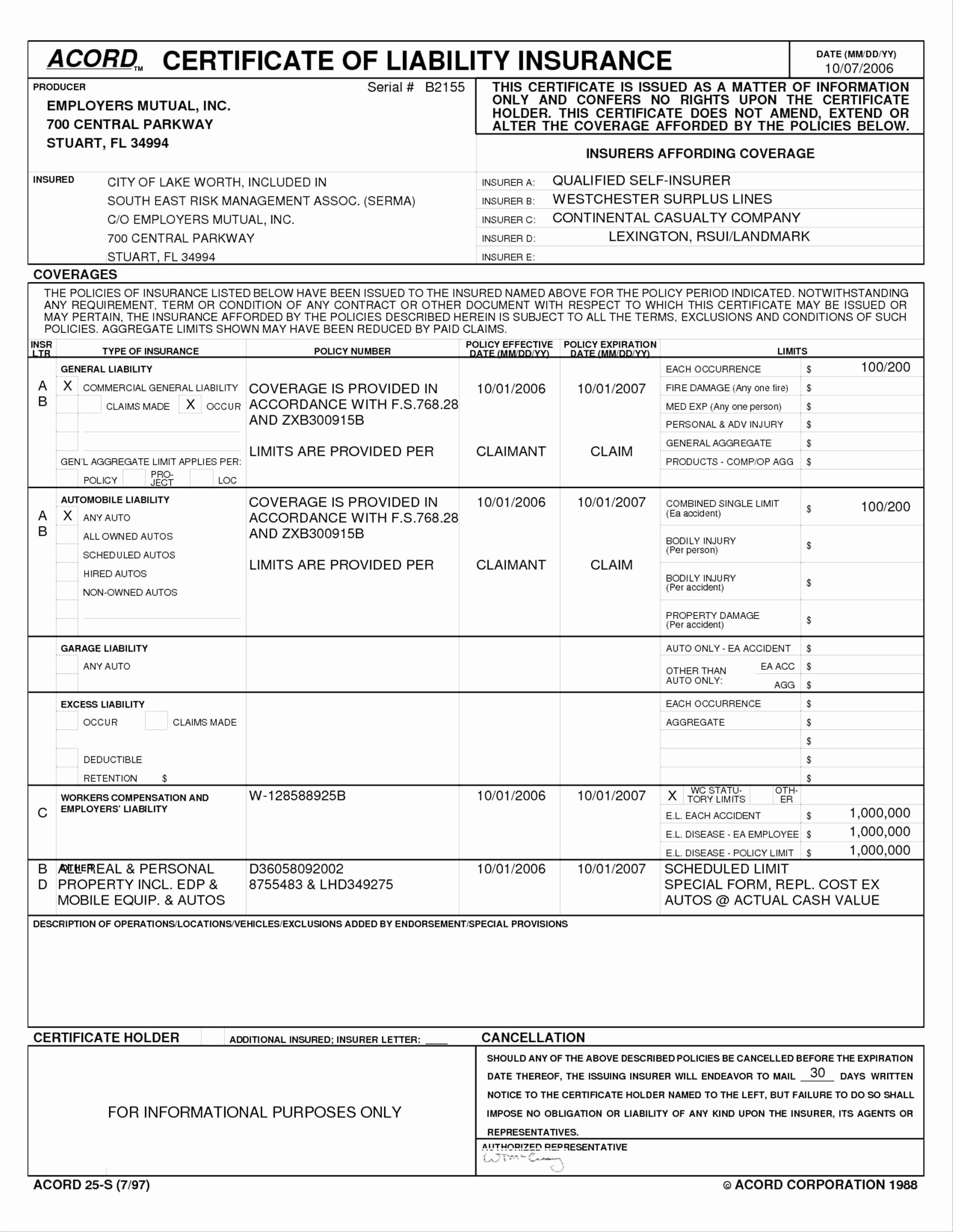 Fillable Acord Form 24