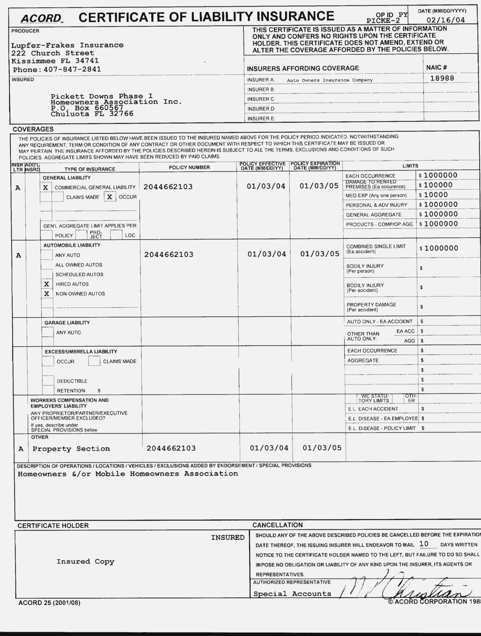 Fillable Acord Form 36