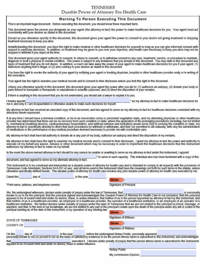 Free Durable Power Of Attorney Form Tennessee
