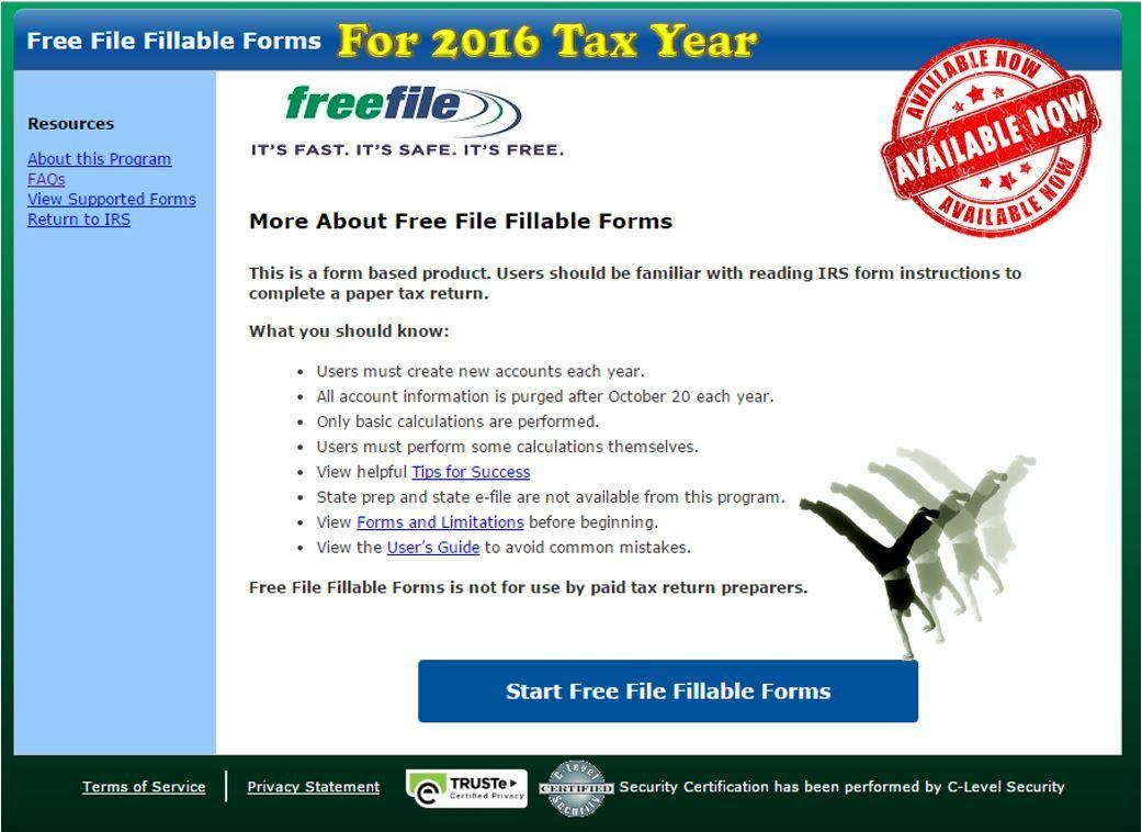 Free Fillable Tax Forms