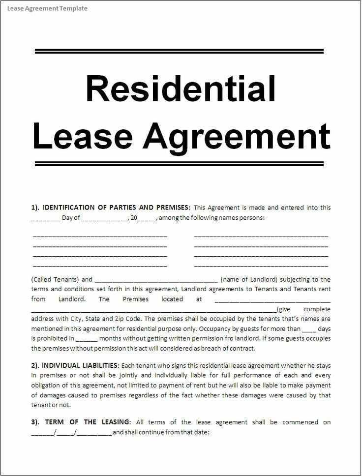 Free Lease Forms To Print