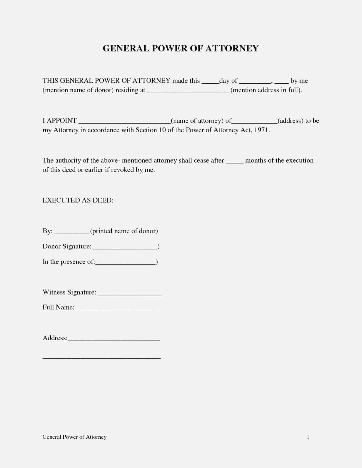 General Durable Power Of Attorney Form Ohio