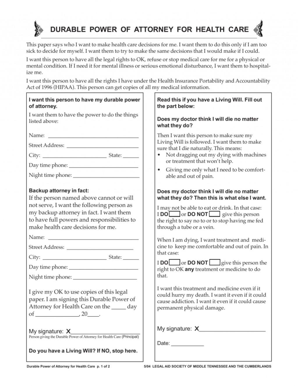 General Durable Power Of Attorney Form Tennessee