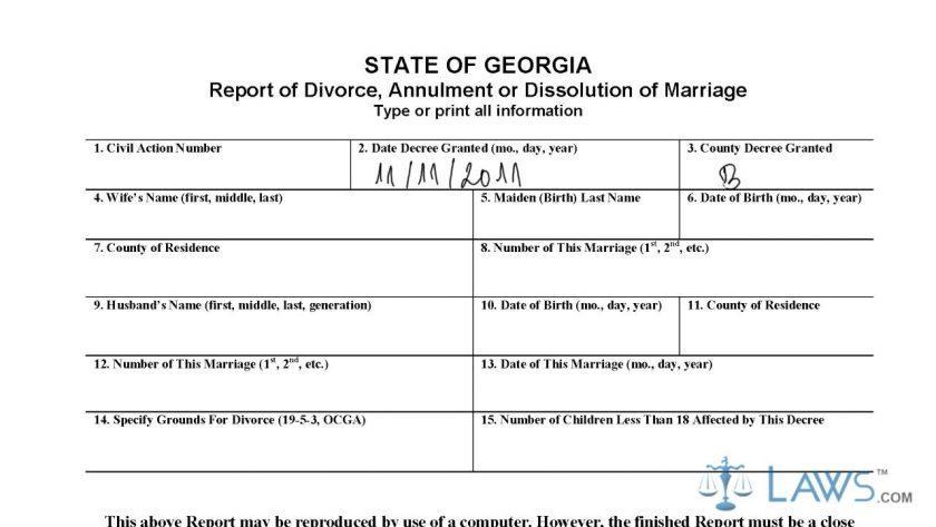 Georgia Divorce Forms Cobb County