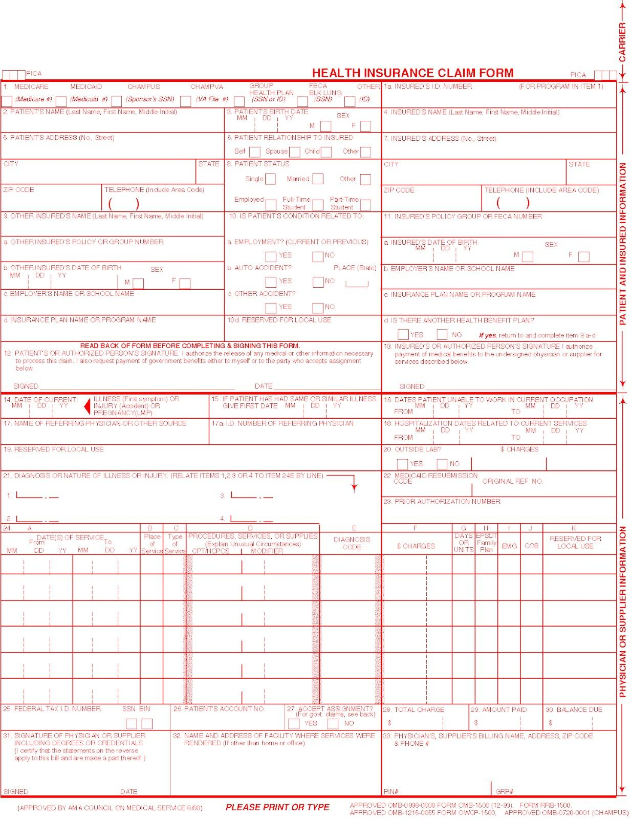 Hcfa 1500 Form Download Pdf