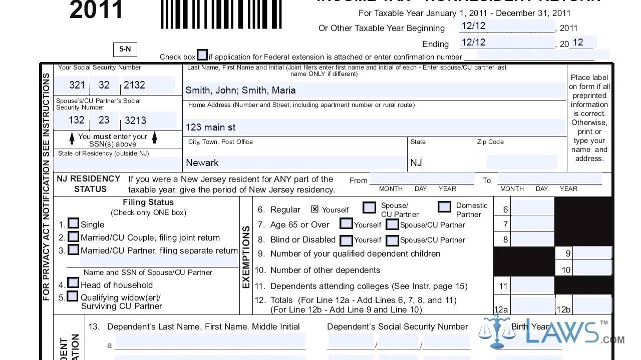 Income Tax Form 1040nr