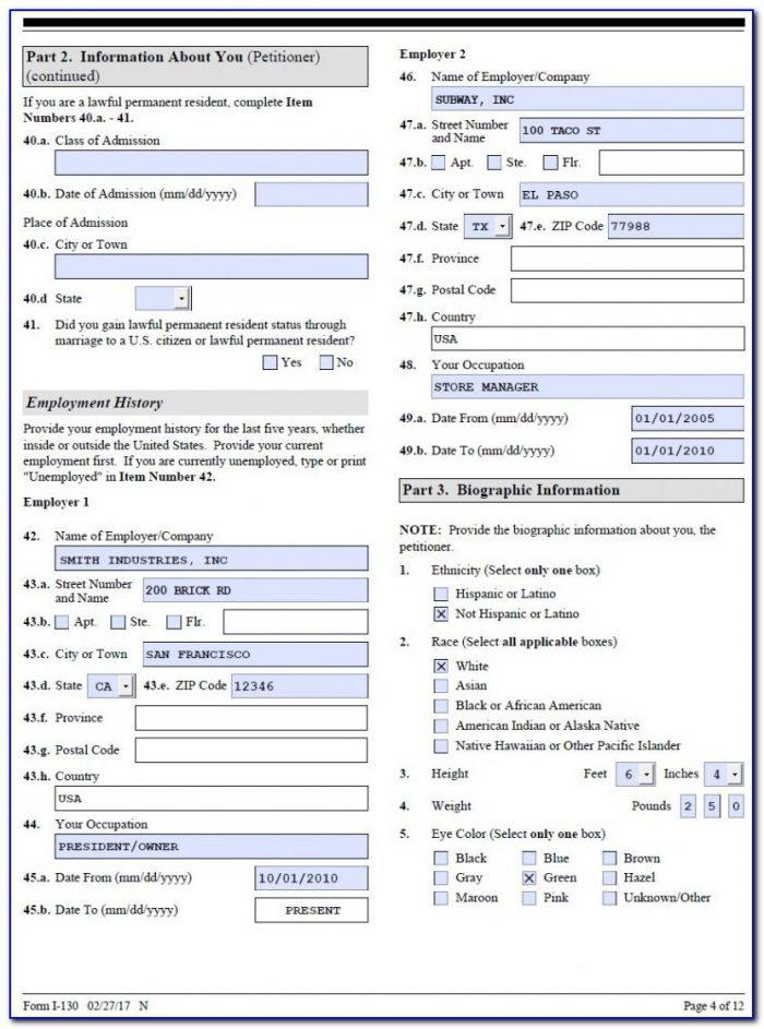 K1 Visa Form Sample