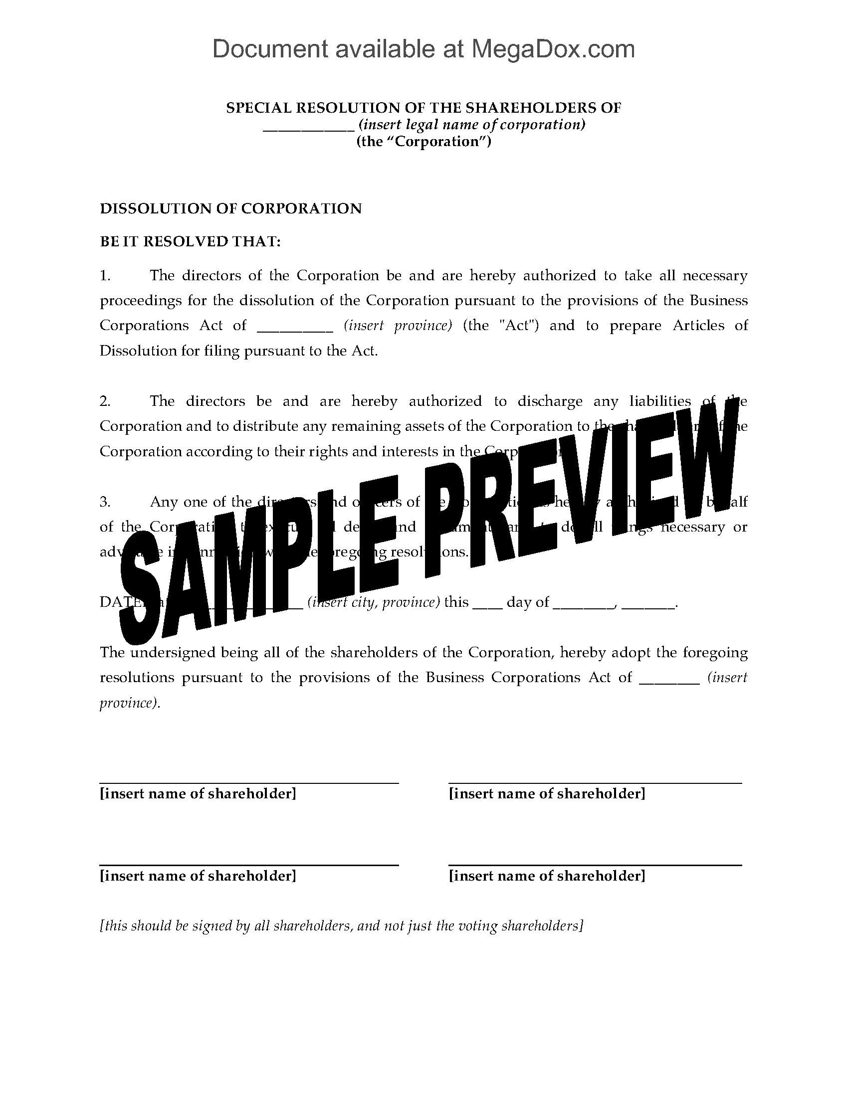 Ohio Corporate Dissolution Forms
