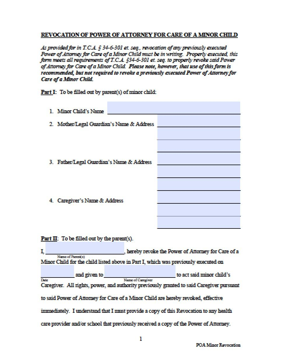 Power Of Attorney Form Tennessee Vehicle