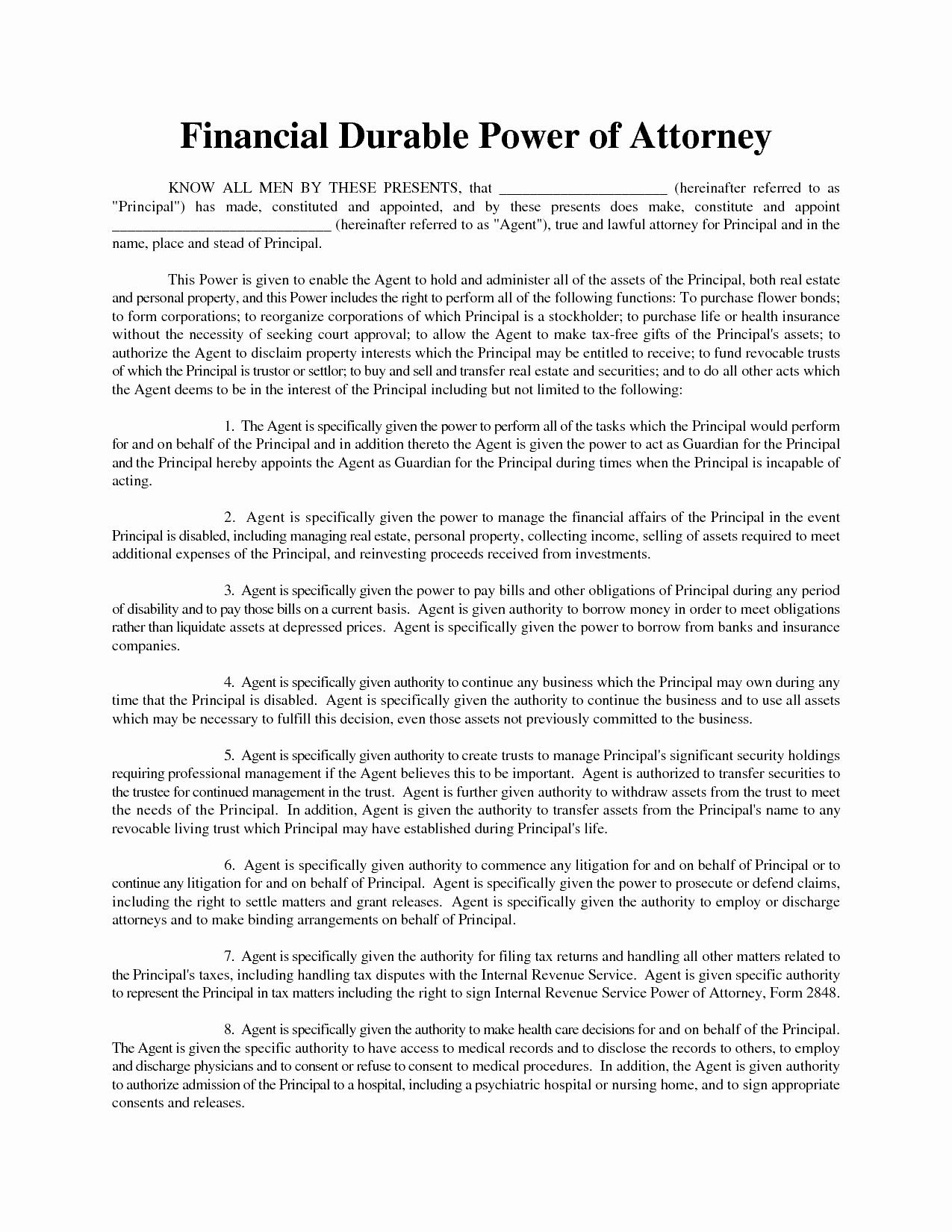 Printable Durable Power Of Attorney Form Tennessee