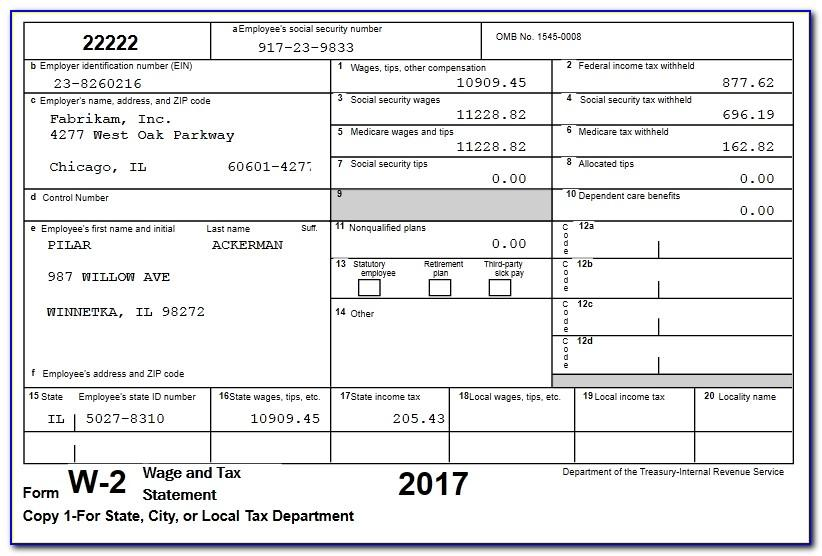 Printable W2 Form For Employees