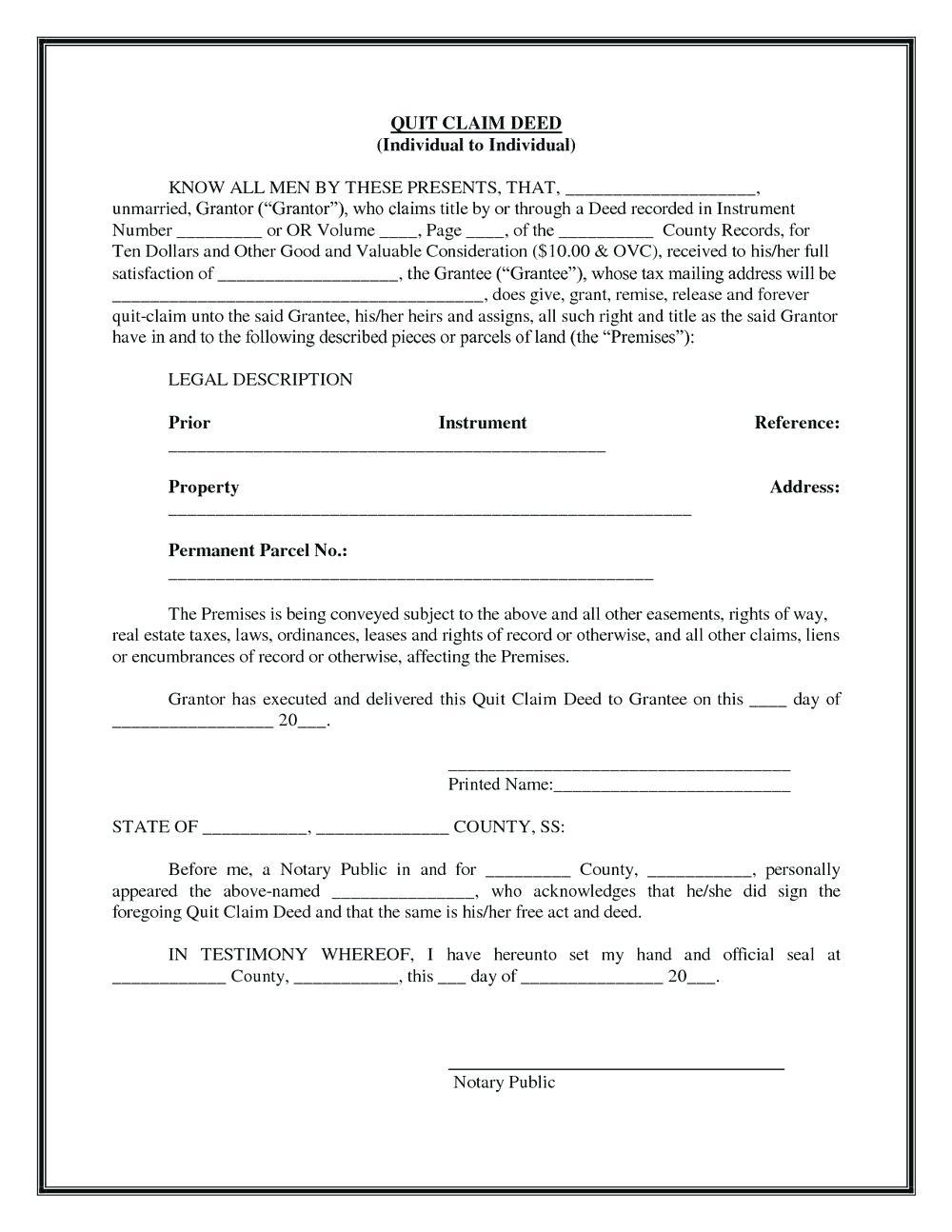 Quit Claim Deed Form Lee County Florida