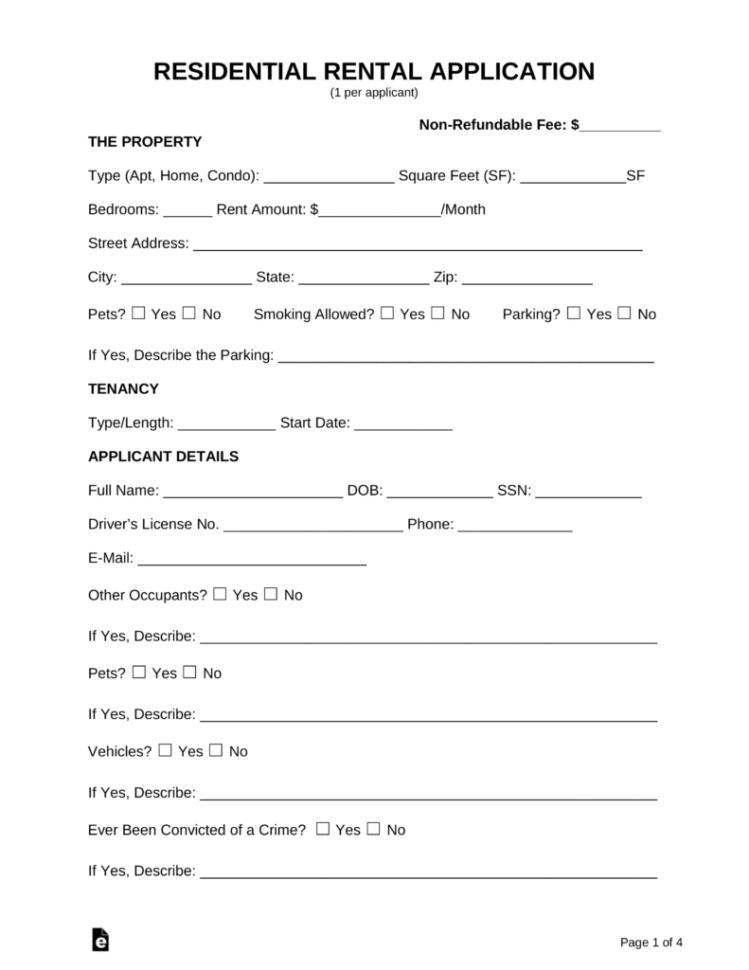 Rental Application Form Alberta