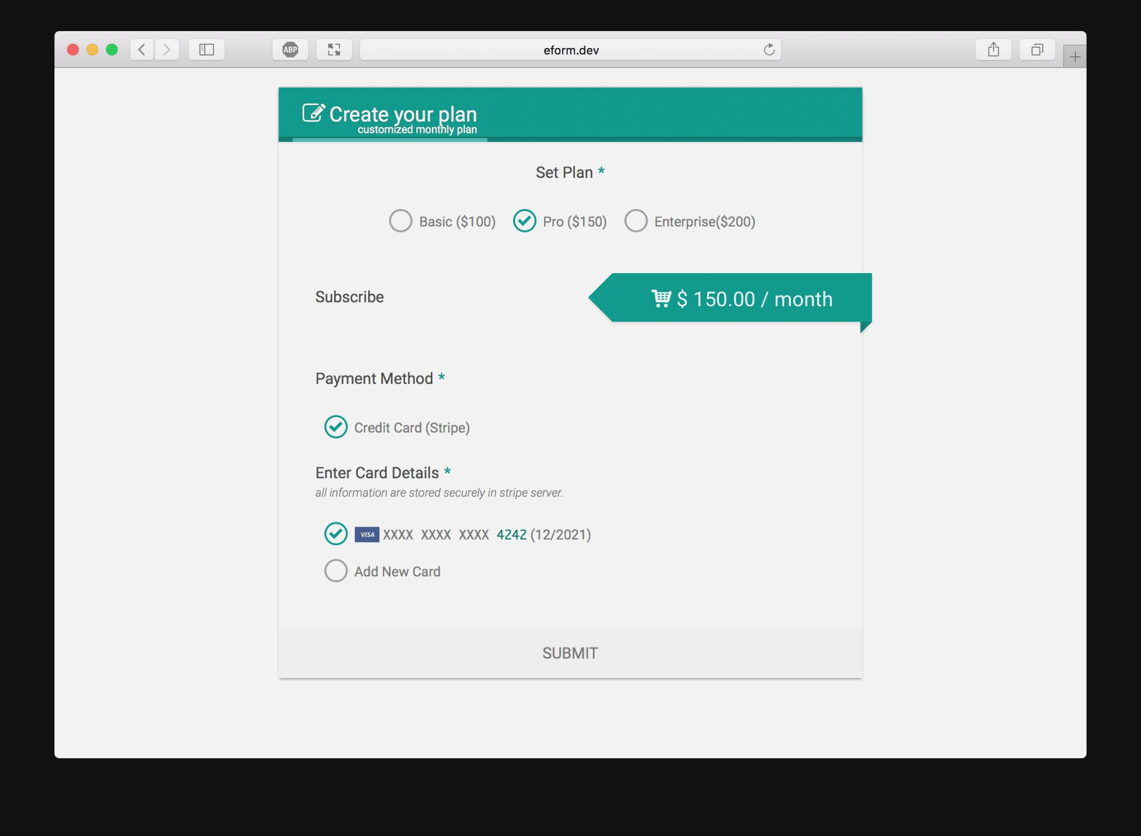 Stripe Payment Form Css
