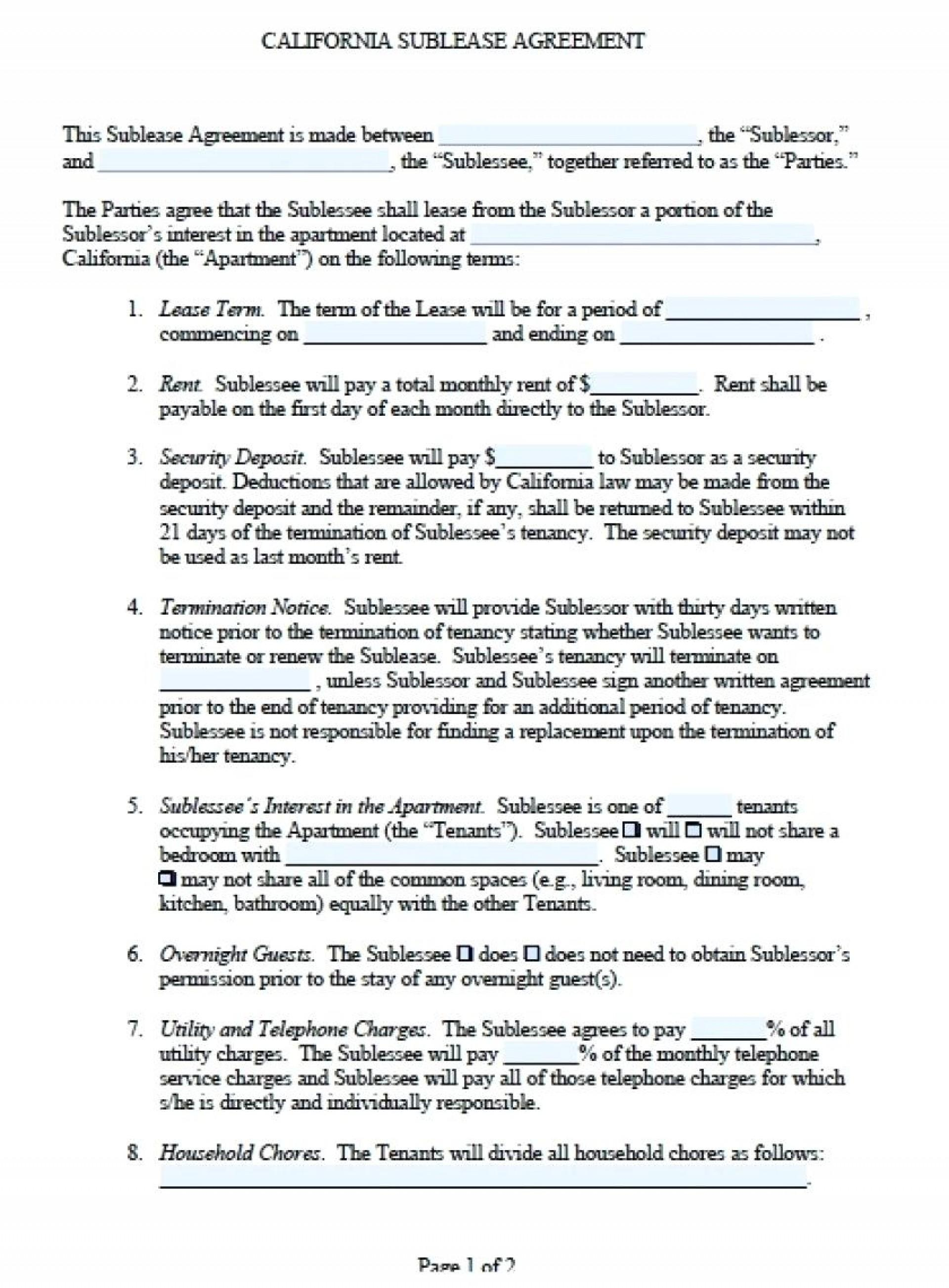 Sublet Lease Agreement Form Ontario