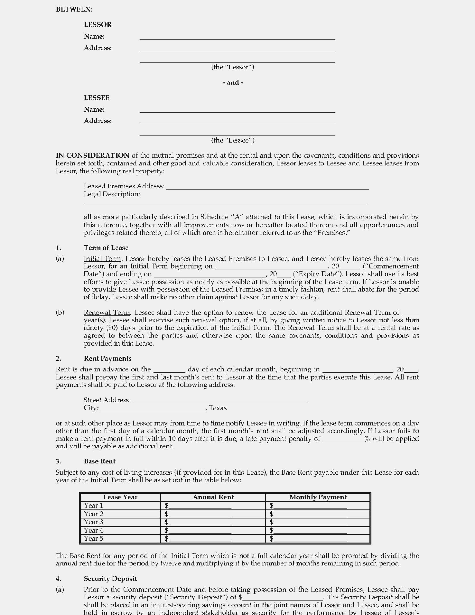 Triple Net Commercial Lease Form