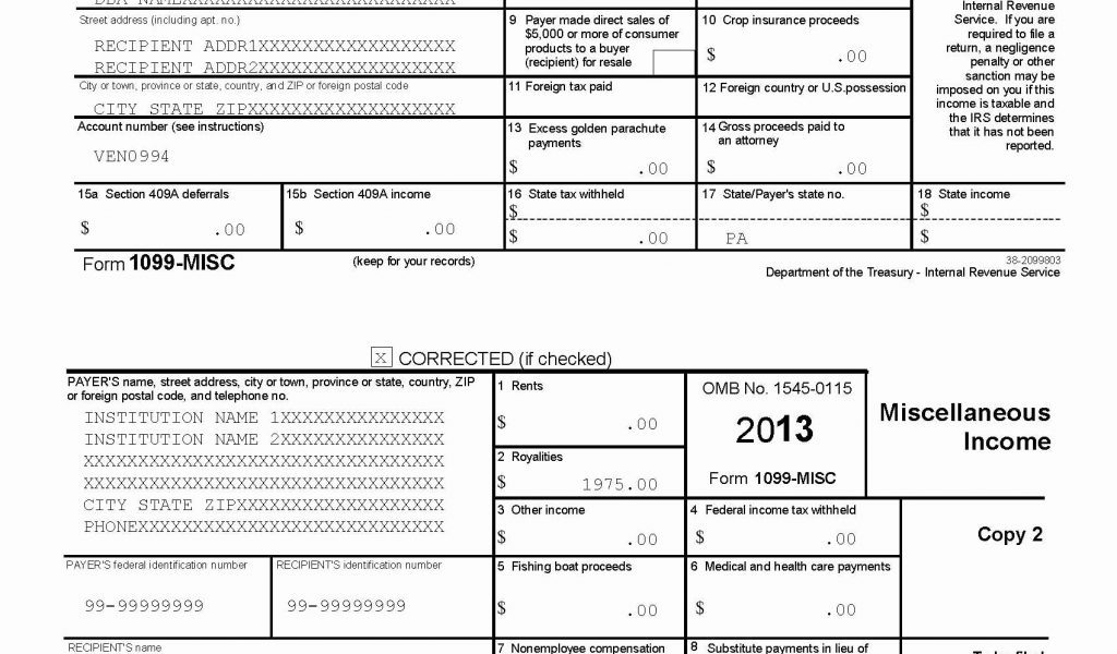 1099 Form 2014 Template