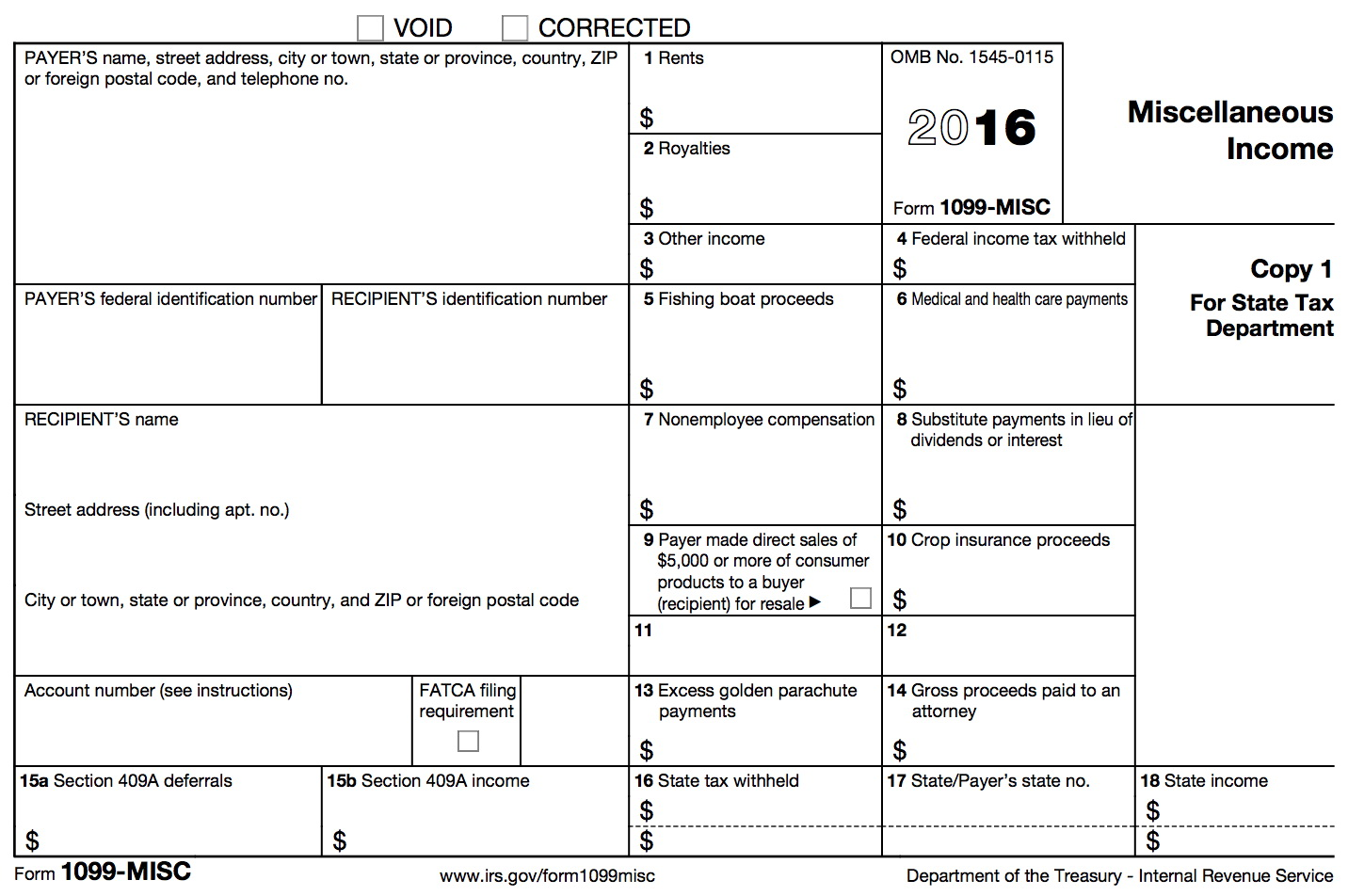 1099 Miscellaneous Form