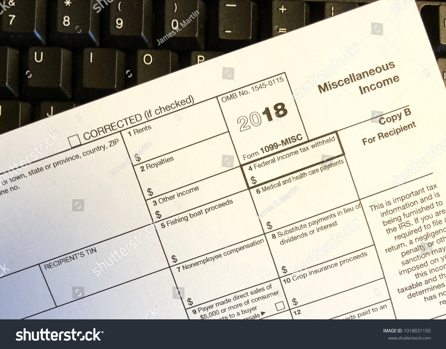1099 Miscellaneous Income Tax Form