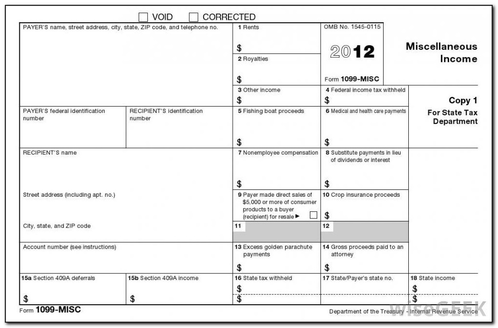 1099 Miscellaneous Tax Form