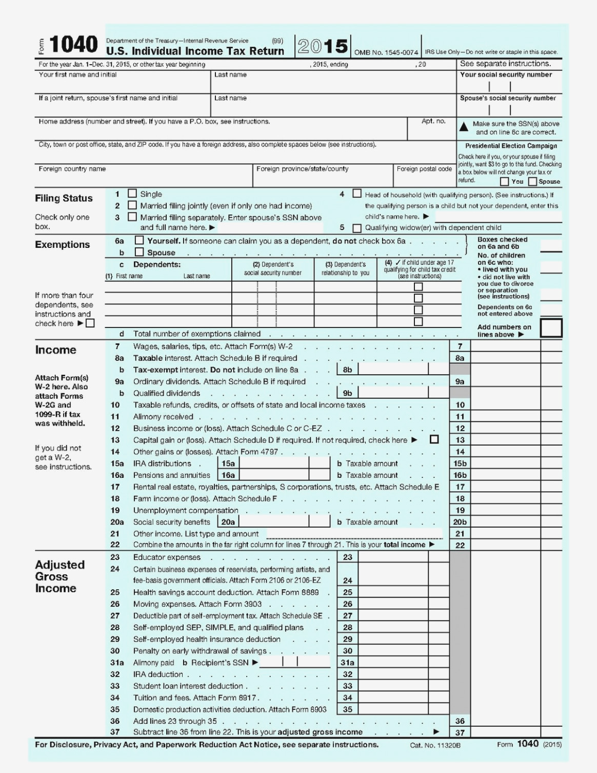 2009 Federal Income Tax Forms 1040