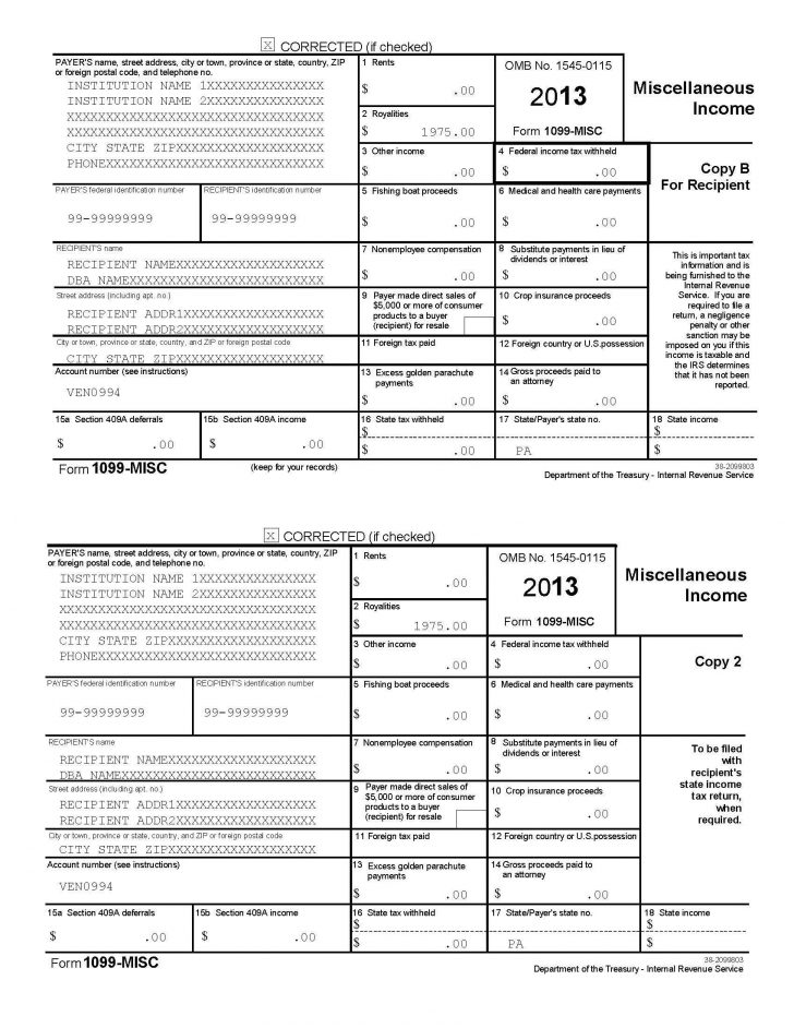 2015 Form 1099 Misc Template