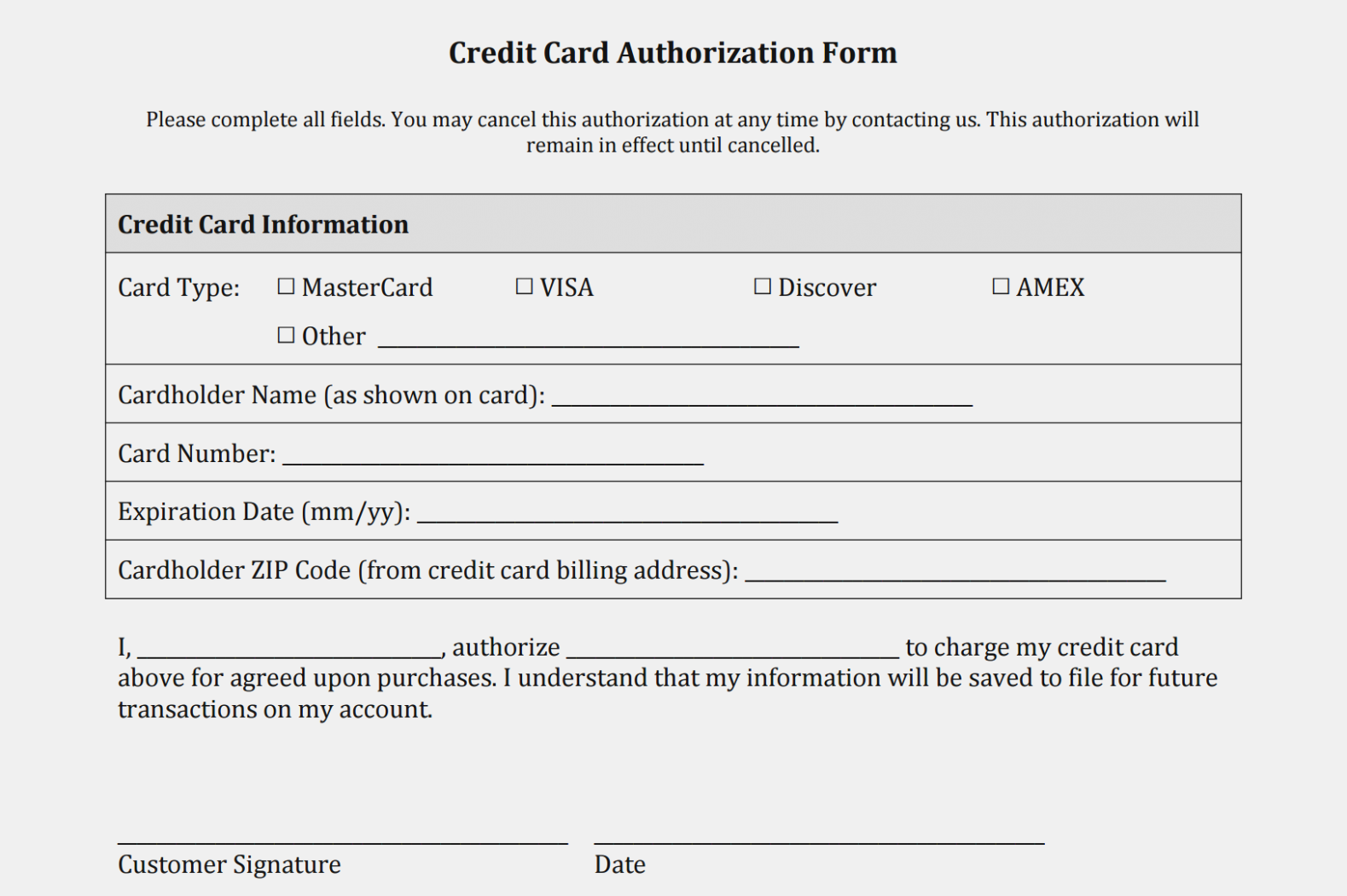 Ach Credit Card Authorization Form