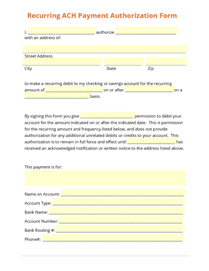 Ach Stop Payment Form Template